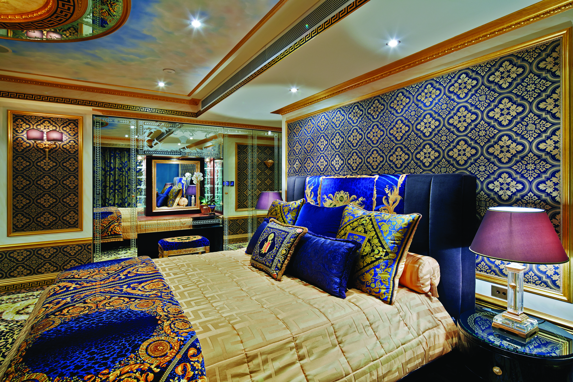 fabric was applied to all the French paneled walls and custom made hand  tufted carpet  designed in Versace style was used throughout the bedrooms    all. Versace Home  Versace Interior Design  Versace Home Products