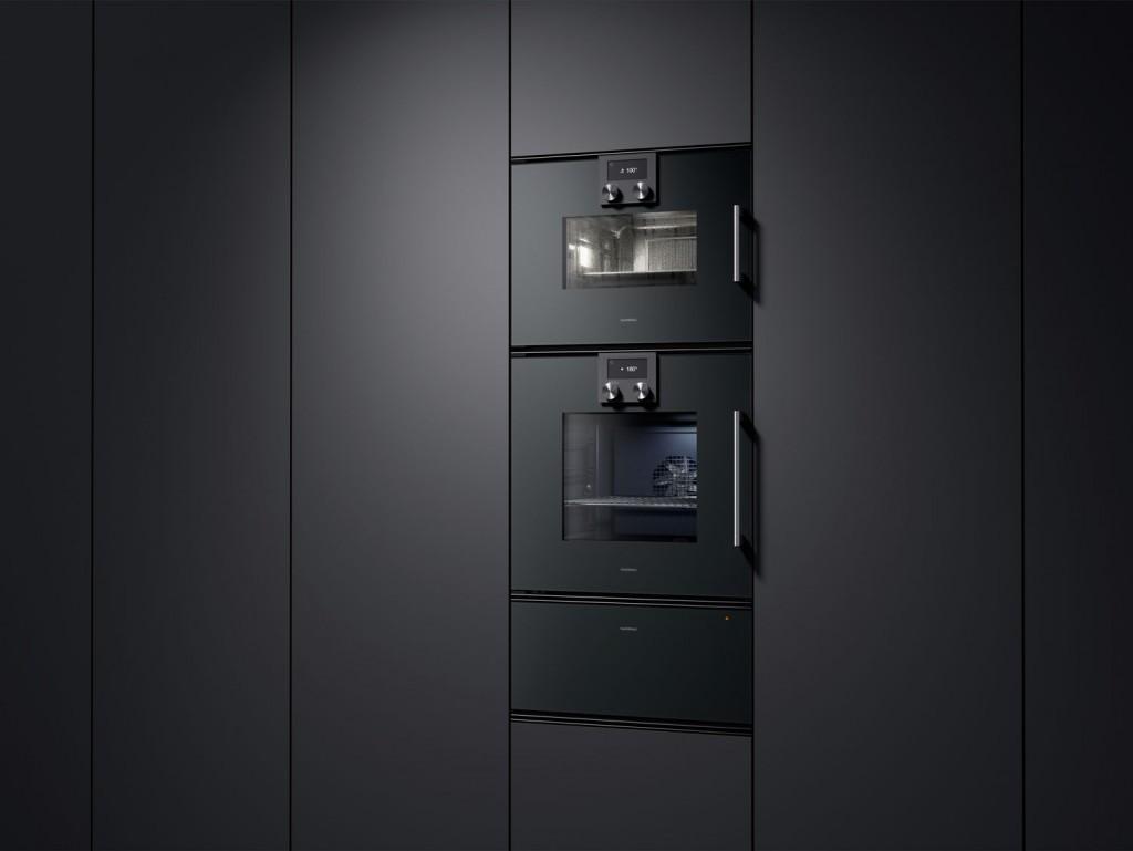 Gaggenau-200-Series-BSP25-Combi-steam-oven,-BOP25-Single-oven-&-WSP221-Warming-drawer