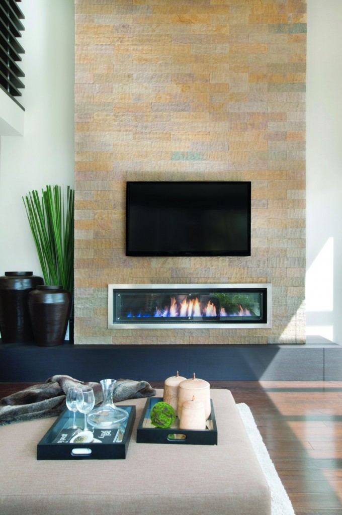 """Real Flame """"Landscape 1600"""" Fireplace with Stainless Steel Trim"""