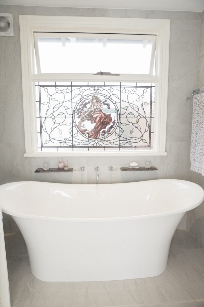 TRADITION STAINED GLASS BATHROOM WINDOW
