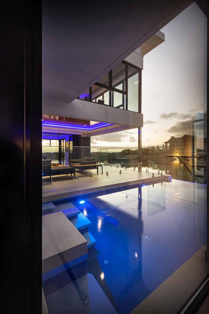 Custom Builders Perth pool evening