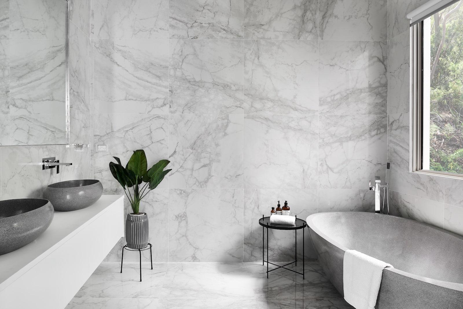 Custom Home Design Sydney gray bathroom